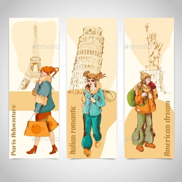GraphicRiver Urban People Vertical Banners Colored Sketch 9190419