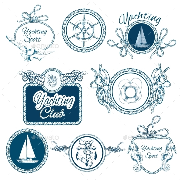 GraphicRiver Yachting Sketch Emblems Set 9190426