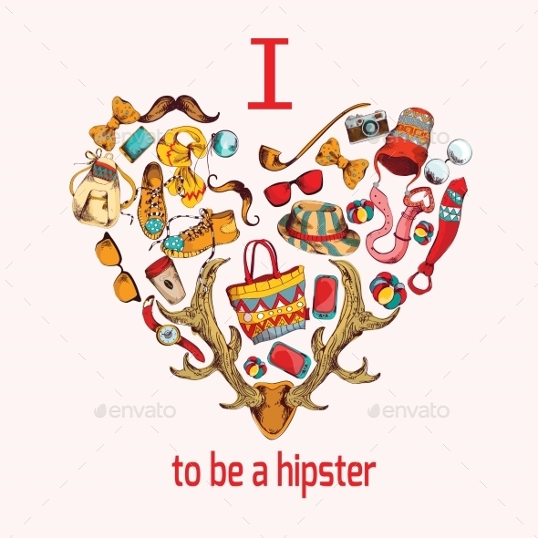 GraphicRiver Hipster Heart 9190427