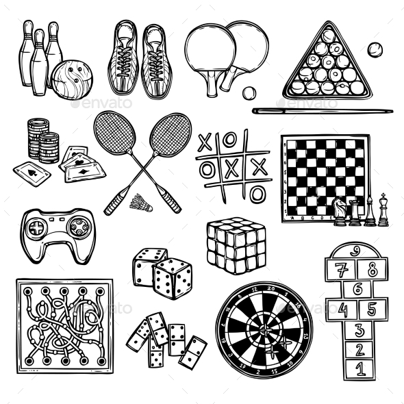 GraphicRiver Game Sketch Icons 9190542