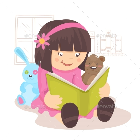 GraphicRiver Girl Reading Book 9190548