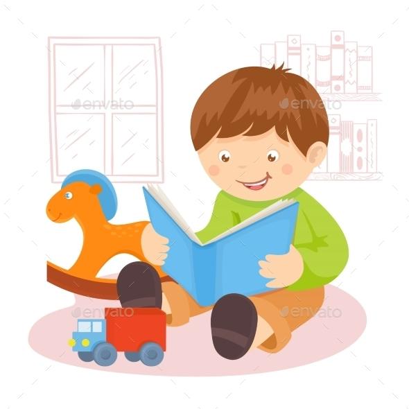 GraphicRiver Boy Reading Book 9190551