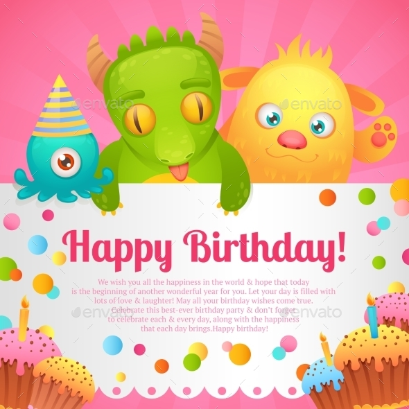 GraphicRiver Birthday Monsters Card 9190555
