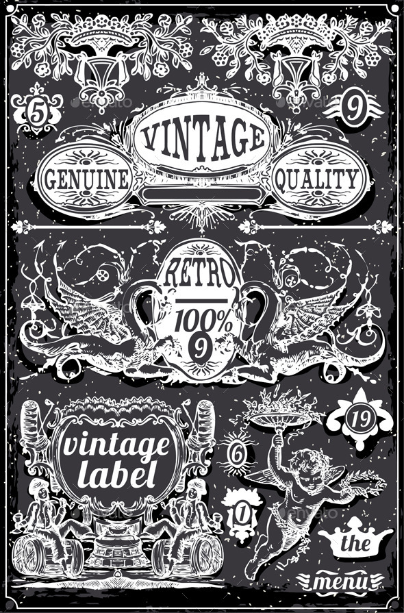 GraphicRiver Vintage Hand Drawn Blackboard Banners and Labels 9190564