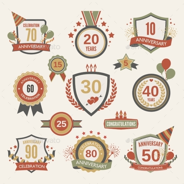 GraphicRiver Anniversary Label Set 9190571
