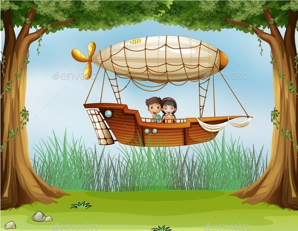 GraphicRiver Kids Riding in an Airship 9190609