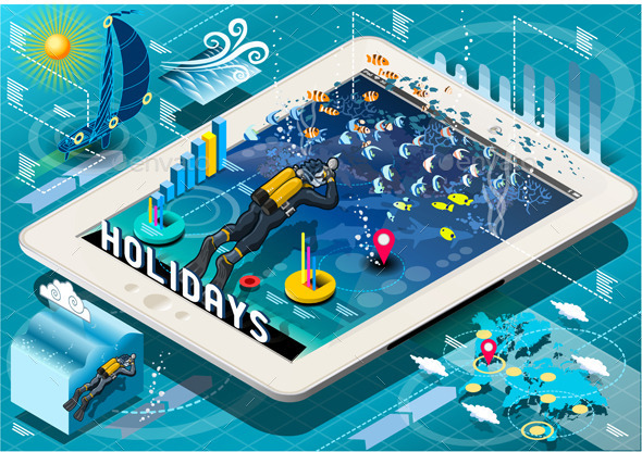 GraphicRiver Isometric Diving Holidays Infographic on Tablet 9190680
