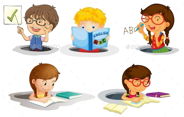 GraphicRiver Kids Studying 9190773