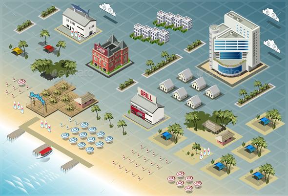 GraphicRiver Isometric Miami Seaside Buildings 9190848