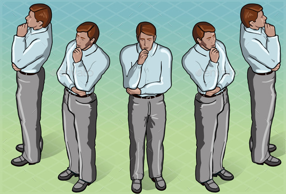 GraphicRiver Isometric Thoughtful Standing Man in Front View 9190896