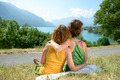 two lesbians in nature admire the landscape - PhotoDune Item for Sale