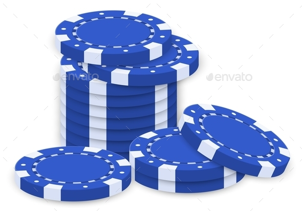 GraphicRiver Group of Blue Poker Chips 9190921