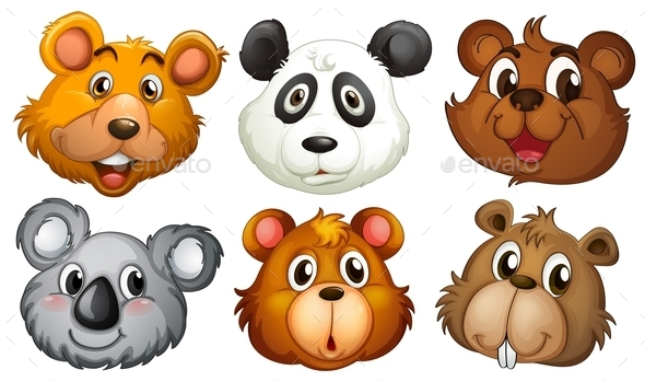 GraphicRiver Six Heads of Bears 9190926