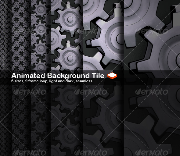 Animated Seamless Background Tile Cogs - Backgrounds Graphics