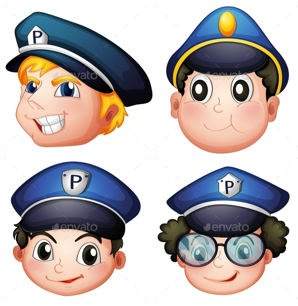 GraphicRiver Head of Four Cops 9191575