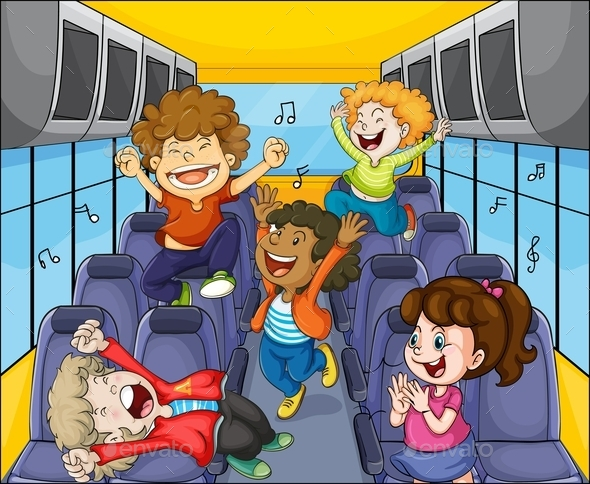 GraphicRiver Kids in the Bus 9191617