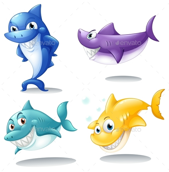 GraphicRiver A Group of Sharks 9191627