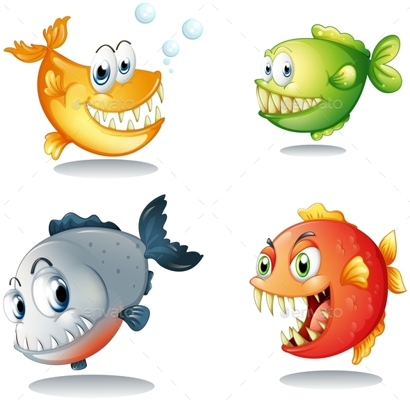 GraphicRiver Four Different Kinds of Fishes with Big Fangs 9191644
