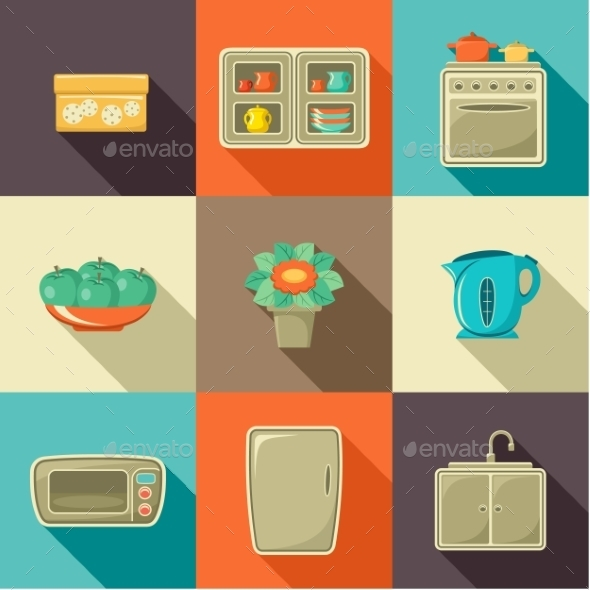 GraphicRiver Flat Icons with Household Objects 9191758