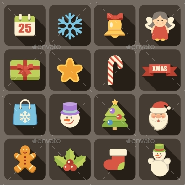 GraphicRiver Flat Christmas Icons Set 9191762