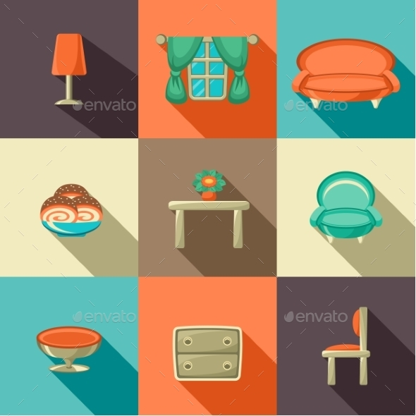 GraphicRiver Flat Icons with Household Objects 9191771