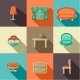 Flat Icons with Household Objects.  - GraphicRiver Item for Sale