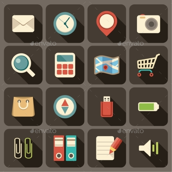 GraphicRiver Flat Icons Set for Web and Mobile Applications 9191821