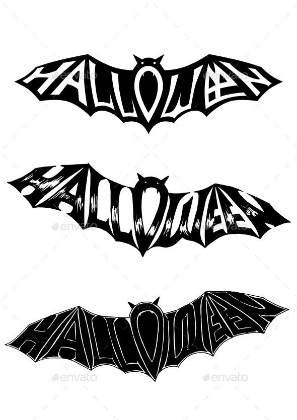 GraphicRiver Title Halloween in the Form of a Bat 9192142
