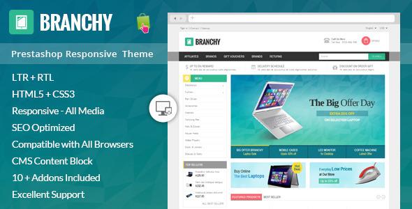 ThemeForest Branchy Prestashop Responsive Theme 9192202
