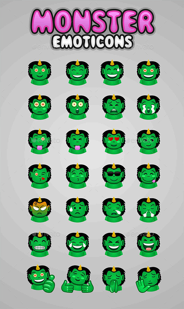 GraphicRiver Monster Emoticons 9192294
