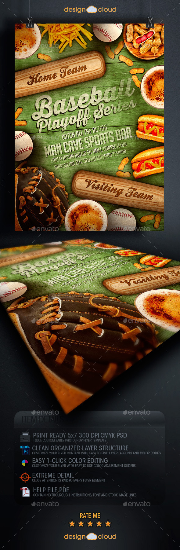 GraphicRiver Baseball Playoff Series Flyer Template 9192330