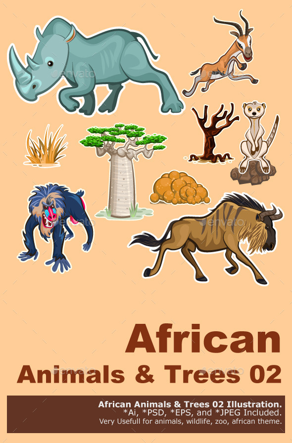 GraphicRiver Africa Animals & Trees Collection Set 02 9192401