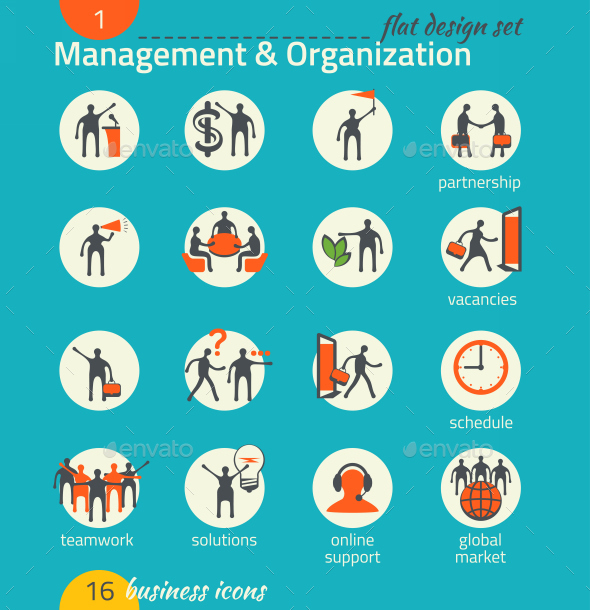 GraphicRiver Business Icon Set Management Human Resource 9192435