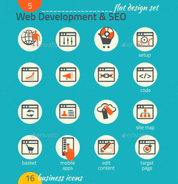 GraphicRiver Business Icon Set Software and Web Development 9192703