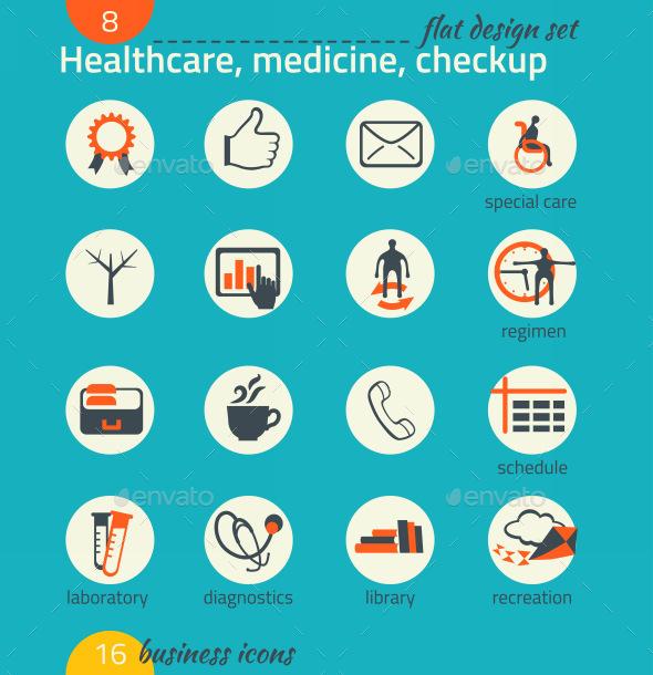 GraphicRiver Business Icon Set Healthcare Medicine Diagnose 9192765
