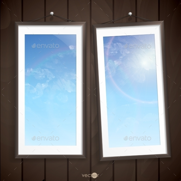 GraphicRiver Two Frames Of Picture On A Striped Old Wall 9192905