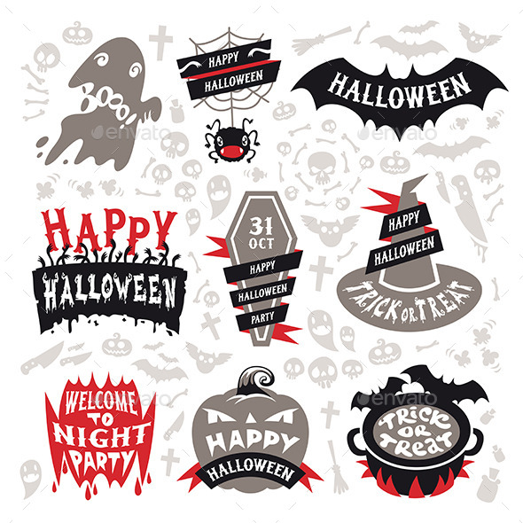 GraphicRiver Halloween Labels Set 9164396