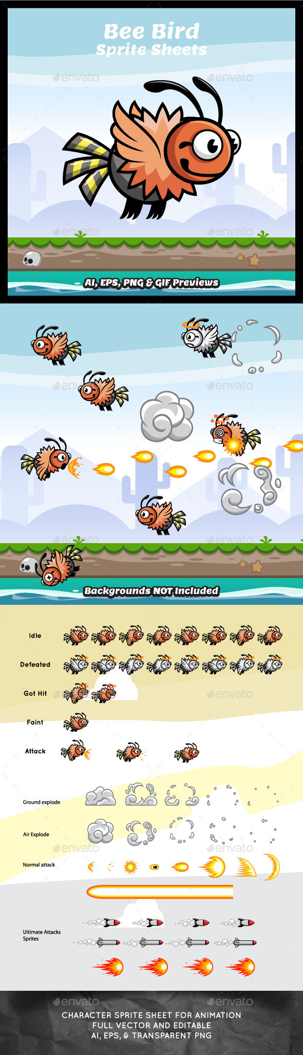 GraphicRiver Bee Bird Game Character Sprite Sheets 9193171