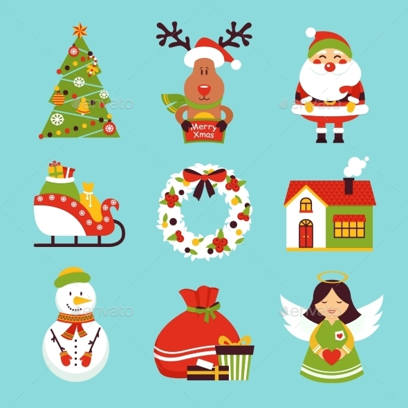 GraphicRiver Christmas Icons Set 9193215