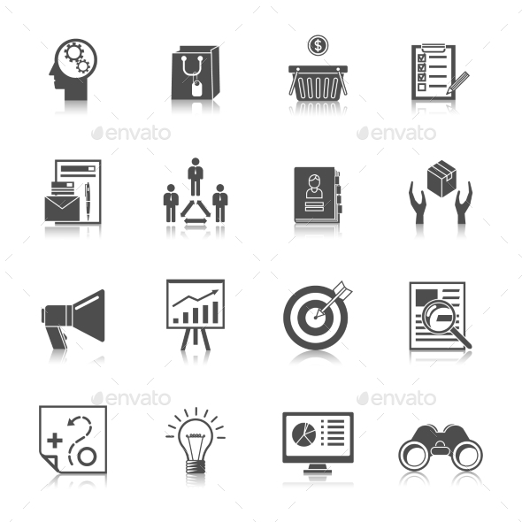 GraphicRiver Marketers Black Icons Set 9193220