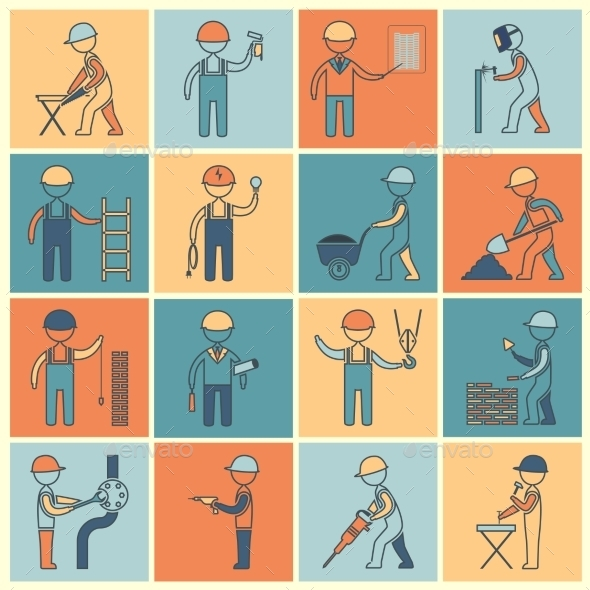 GraphicRiver Construction Worker Icons Flat Line 9193277