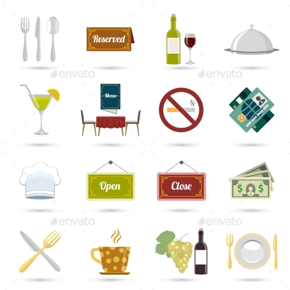 GraphicRiver Restaurant Icons Set 9193279