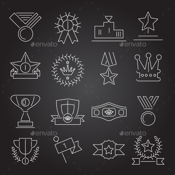 GraphicRiver Award Icons Set Outline 9193307