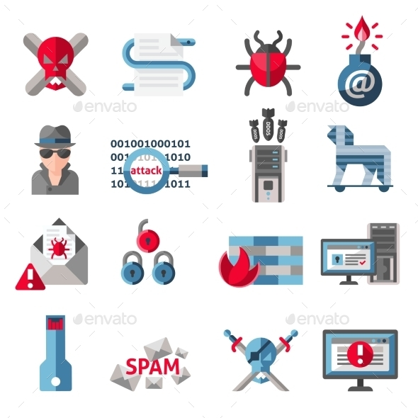 GraphicRiver Hacker Icons Set 9193311