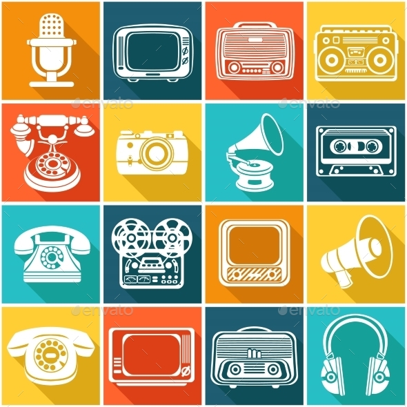 GraphicRiver Retro Media Icons 9193315