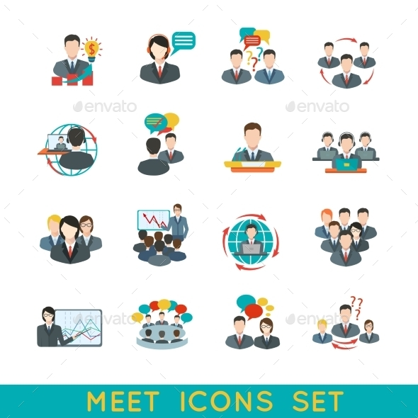GraphicRiver Meeting Icons Set Flat 9193318