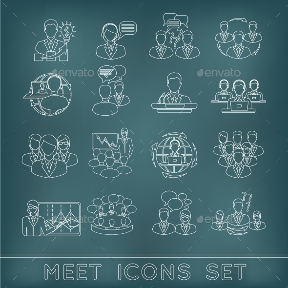 GraphicRiver Meeting Outline Icons Set 9193319