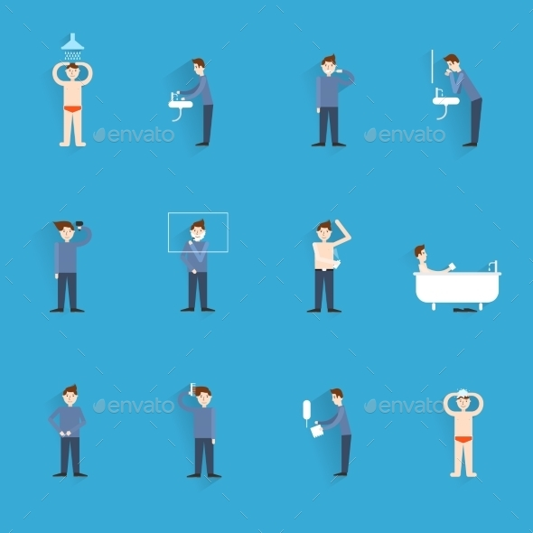 GraphicRiver Hygiene Icons Flat 9193323