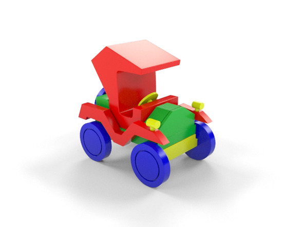 3DOcean Wooden Toy Car 9194077