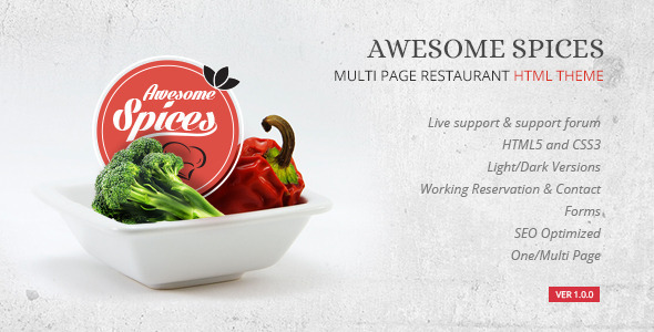ThemeForest Awesome Spice Restaurant Cafe HTML Template 9194101